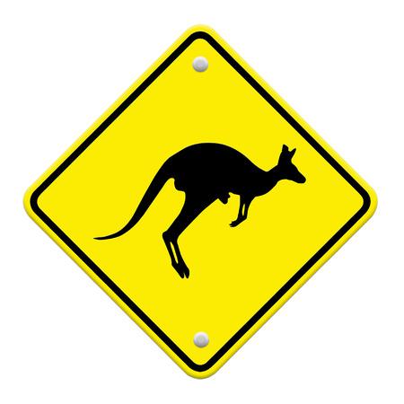 beware Kangaroo sign on traffic label photo