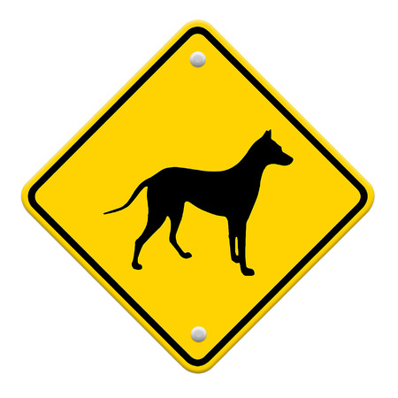 beware dog crossing traffic sign,part of a series Stock Photo - 27049999