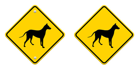 beware dog crossing traffic sign,part of a series photo