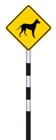 beware dog crossing traffic sign,part of a series Stock Photo - 27050002