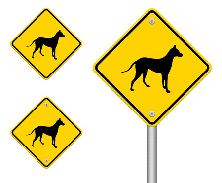 beware dog crossing traffic sign,part of a series Stock Photo - 27050003