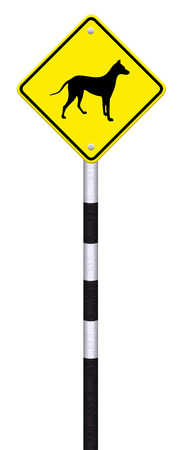 beware dog crossing traffic sign,part of a series Stock Photo - 27050007