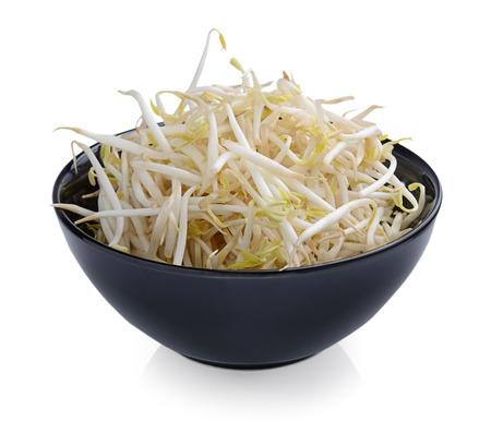 soja: Bean Sprouts on White Background Stock Photo