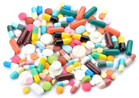 prophylactic: drugs capsules and pills on white background