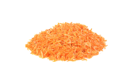 dried shrimp isolated on a white background, photography