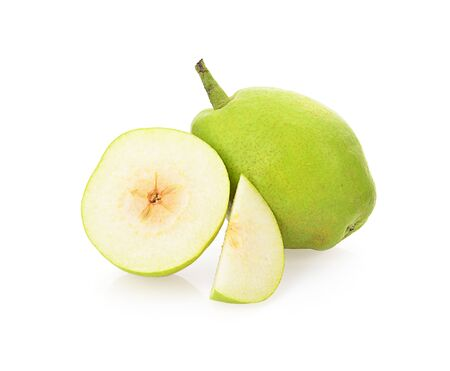 green pear isolated on a white background, photography