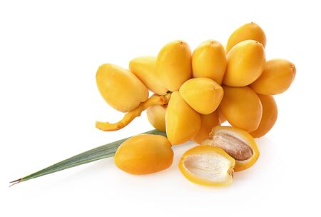 yellow date palm fruit  isolated on a white background, photography Stock Photo