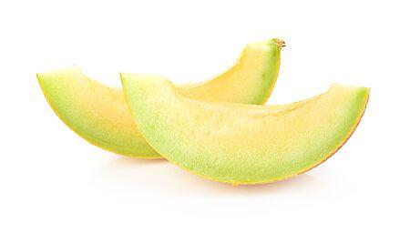 Yellow sweet melon isolated on white background Stock Photo