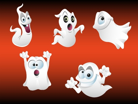 phantom: vector illustration of five spooky halloween ghosts