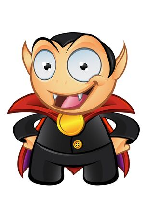 A  illustration of Dracula the Vampire  with his hands on his hips