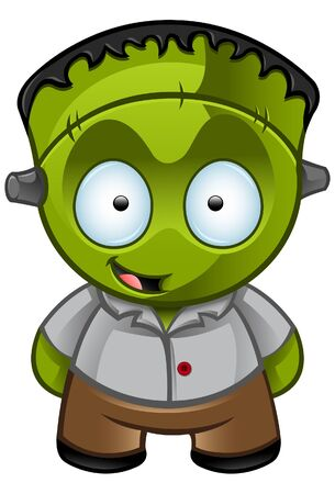 monster cartoon: A  illustration of a cute Frankensteins monster looking happy Illustration