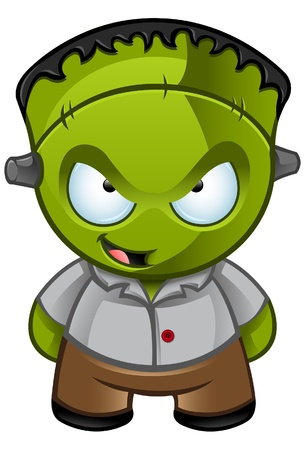 A illustration of a cute Frankensteins monster looking naughty