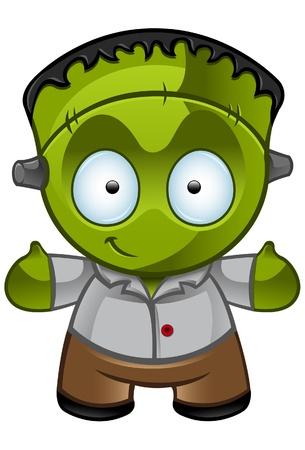 Een illustratie van een leuke Frankensteins monster glimlachen