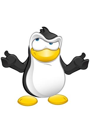 confus: Une illustration mignonne d'un pingouin confus Illustration