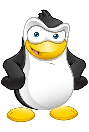 Awesome illustratie van een schattige pinguïn met zijn handen op zijn heupen.