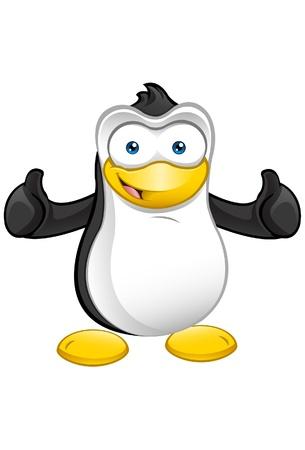 Een leuke illustratie van een pinguïn het geven van een thumbs up.