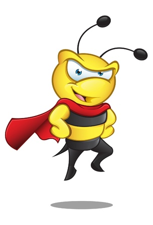 A  illustration of a super hero bee with his hands on his hips