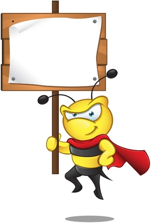 worker bees: A  illustration of a Super Bee - holding Sign