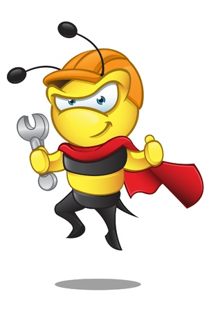 cute bee: A  illustration of a superhero bee in a hard hat holding a spanner. Illustration