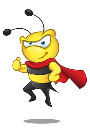A  illustration of a super hero bee giving a thumbs up Illustration