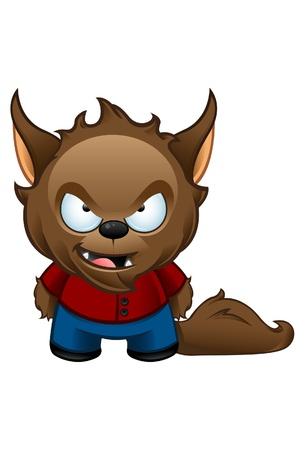 loup garou: Une illustration mignonne d'un loup-garou moche m�chant Illustration