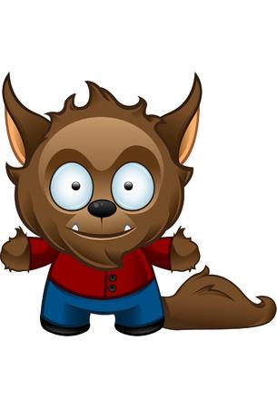 Een leuke illustratie van een gelukkig Werewolf op zoek gelukkig Stock Illustratie