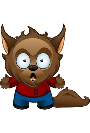 A cute  illustration of a shocked Werewolf looking shocked Vector