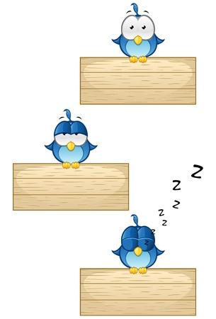aves caricatura: ilustraciones de los tres p�jaros azules lindos con diferentes expresiones faciales que se sienta en un cartel de madera