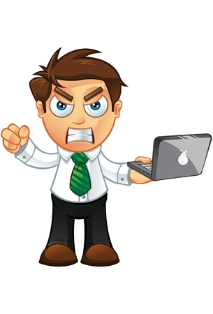 Illustration of a Business man character with a laptop