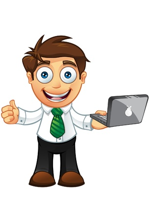 3d manager: Illustration of a Business man character with a laptop