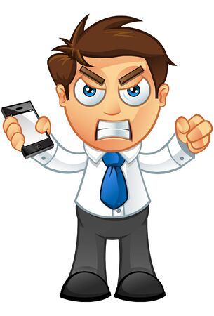 Illustration of a Business man character with a mobile  Vector
