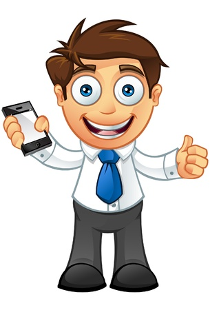 Illustration of a Business man character with a mobile  Illustration