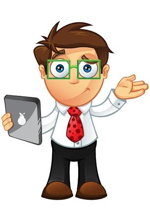 Illustratie van een Business man karakter met een tablet Stock Illustratie