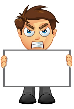 man holding a blank sign: An illustration of a Business Man holding a Blank Sign - 2