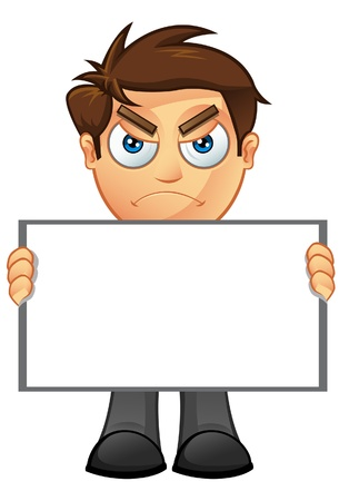 man holding a blank sign: An illustration of a Business Man holding a Blank Sign - 3 Illustration
