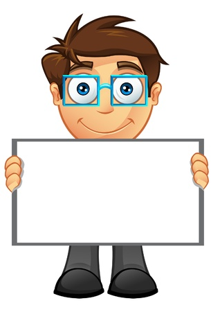 An illustration of a Business Man holding a Blank Sign - 4 Stock Vector - 20858247