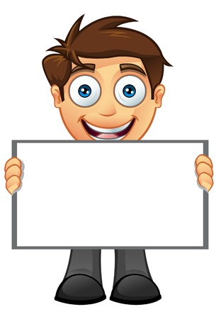 man holding a blank sign: An illustration of a Business Man holding a Blank Sign - 6 Illustration