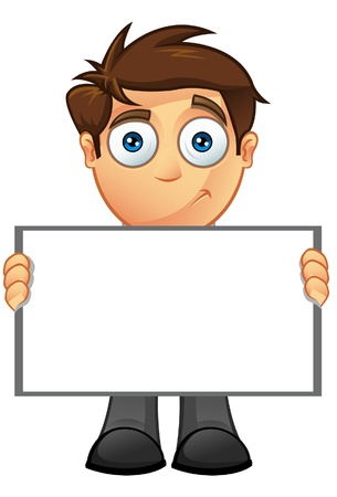 An illustration of a Business Man holding a Blank Sign - 8 Stock Vector - 20858284