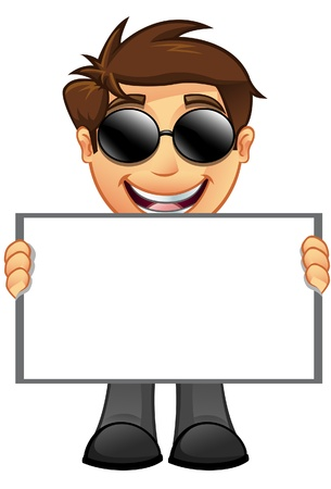 An illustration of a Business Man holding a Blank Sign - 10 Stock Vector - 20858309