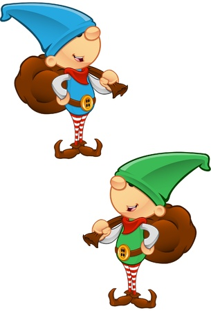 christmas costume: Two different colored vector illustrations of elves holding a sack. Illustration