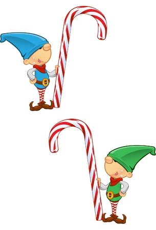 Two different colored vector illustrations of elves holding a candy cane.