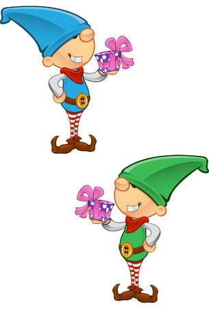 green elf: Two different colored vector illustrations of elves holding a present.