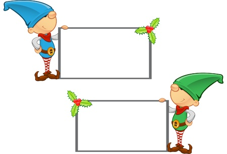 Two different colored vector illustrations of elves holding a blank board. Vector