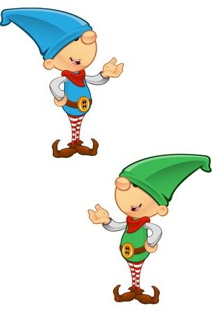 Twee verschillende gekleurde vector illustraties van elfen presenteren. Stock Illustratie