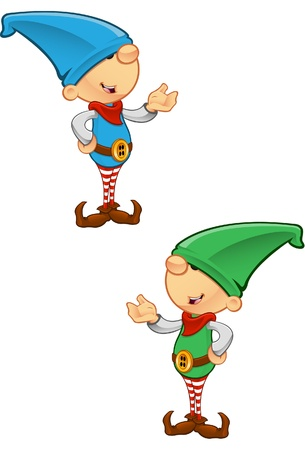 santa costume: Two different colored vector illustrations of elves presenting.