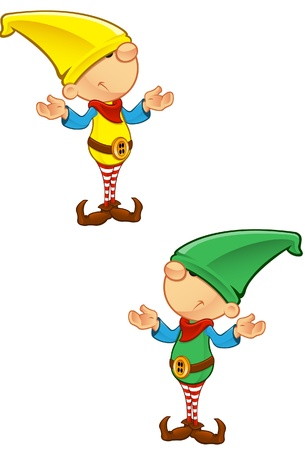 elf: A vector illustration of an Elf looking confused. Illustration