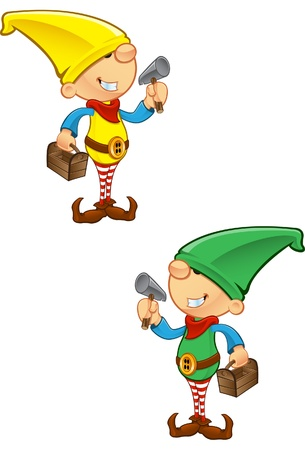 Una ilustración vectorial de un duende que sostiene un martillo y una caja de herramientas.