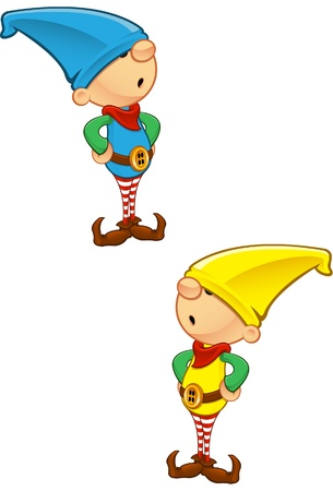 A vector illustration of an Elf with his hands on his hips. Vector