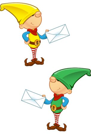 A vector illustration of an Elf holding a letter. Vector