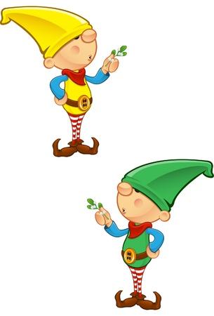 santas  helper: A vector illustration of an Elf holding mistletoe.